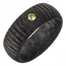 Кольцо из карбона с бриллиантом
