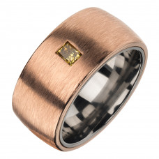Кольцо из бронзы и титана с бриллиантом