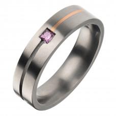 Кольцо из титана и золота с бриллиантом