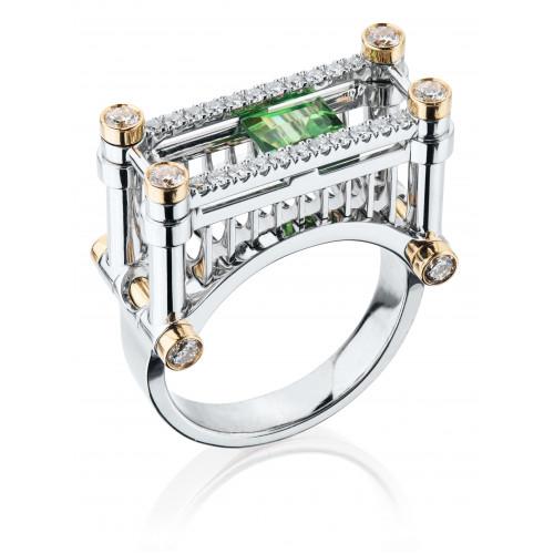 """Кольцо """"Железнодорожный мост"""" с цаворитом и бриллиантами"""
