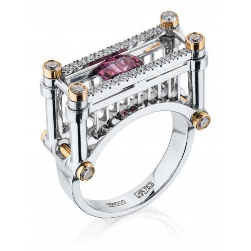 """Кольцо """"Железнодорожный мост"""" из белого золота со шпинелью и бриллиантами"""