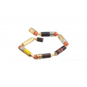 """Браслет """"Карандаши"""" из золота с эмалью, сапфирами и кораллами"""
