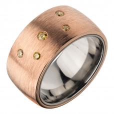 Кольцо из бронзы и титана с бриллиантами