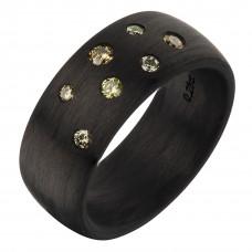 Кольцо из карбона с бриллиантами