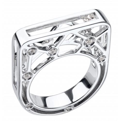 Кольцо из белого золота с ездящим бриллиантом