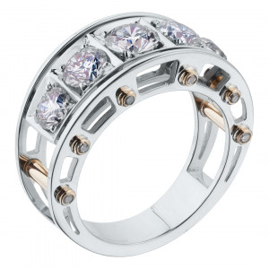 """Кольцо """"Арочный мост"""" из золота с бриллиантами"""