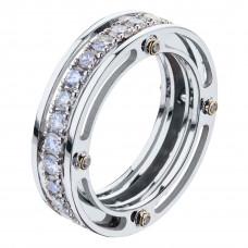 """Кольцо  """"Обручальный мост"""" из белого золота с бриллиантами"""