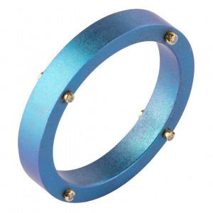 """Кольцо """"Титановый мост"""" из анодированного титана с золотыми винтами и бриллиантами"""