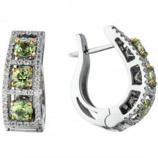 """Серьги """"Арочный мост"""" из белого золота с демантоидами и бриллиантами"""
