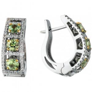 """Серьги """"Арочный мост"""" из золота с демантоидами и бриллиантами"""