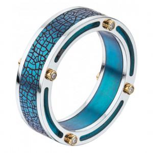 """Кольцо """"Титановый мост"""" из золота и титана с бриллиантами"""