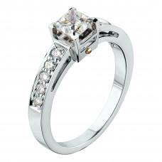 """Кольцо """"Консольный мост"""" из белого золота с бриллиантами"""