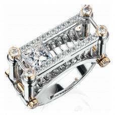 """Кольцо """"Железнодорожный мост"""" из белого золота с бриллиантами"""