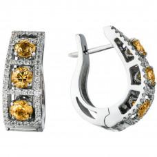 """Серьги """"Арочный мост"""" из белого золота с бриллиантами"""
