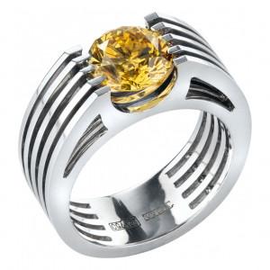"""Кольцо """"Вантовый мост"""" из белого золота с желтым бриллиантом"""