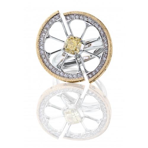 """Кольцо-трансформер """"Цитрус"""" из белого и желтого золота с сапфирами и бриллиантами"""