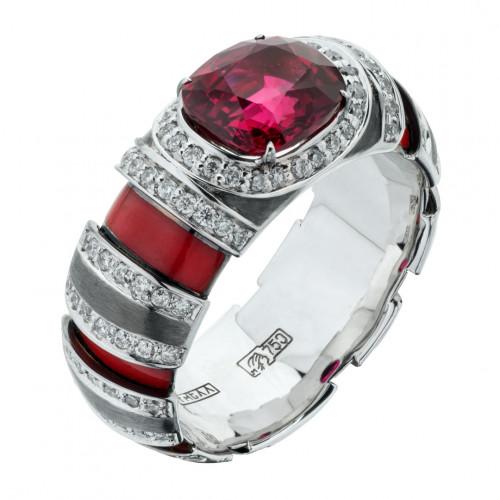 Кольцо из белого золота с рубином весом 2,17 карата