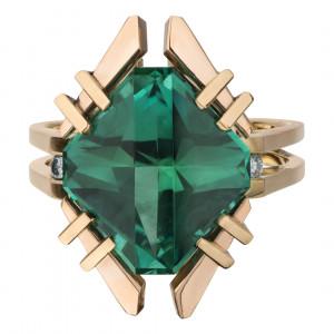 Кольцо из золота с турмалином и бриллиантами