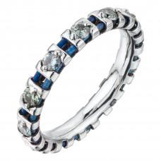 Кольцо из белого золота и титана с голубыми бриллиантами