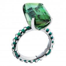 """Кольцо """"Метаморфозы"""" из белого золота и титана с турмалином и бриллиантами"""
