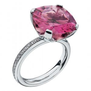Кольцо из белого золота со шпинелью и бриллиантами