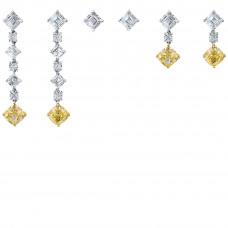 Серьги-трансформеры из белого золота с желтыми и бесцветными бриллиантами