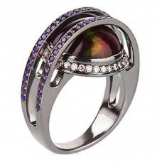 Кольцо из белого золота с опалом, сапфирами и бриллиантами