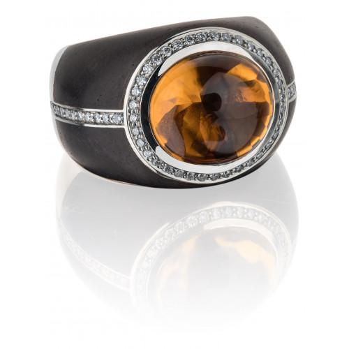 Кольцо из белого золота и эбенового дерева с цитрином и бриллиантами