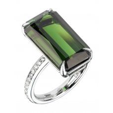 Кольцо из белого золота с турмалином и бриллиантами