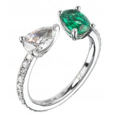 Кольцо из белого золота с бриллиантами и изумрудом