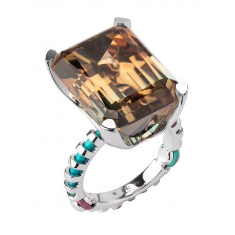 """Кольцо """"Метаморфозы"""" из золота и титана с полихромным турмалином и бриллиантами"""