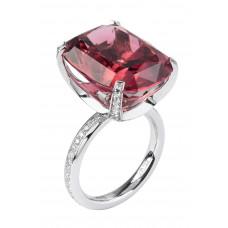 """Кольцо """"Метаморфозы"""" из белого золота с красным турмалином и бриллиантами"""