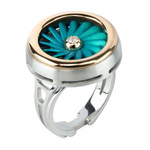 "Кольцо ""Турбина"" из золота, серебра и титана с бриллиантом"