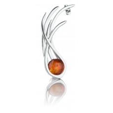 Серьга-кафф из серебра с янтарем