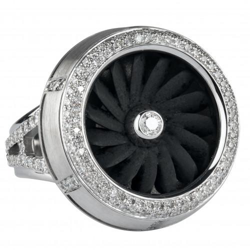 """Кольцо """"Турбина"""" из золота и алюминия с бриллиантами"""