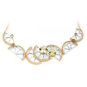 """Колье """"Цитрус"""" из белого и желтого золота с цитрином и бриллиантами"""