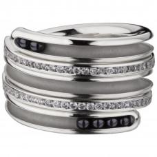 "Кольцо ""Спираль"" из белого золота с бриллиантами"