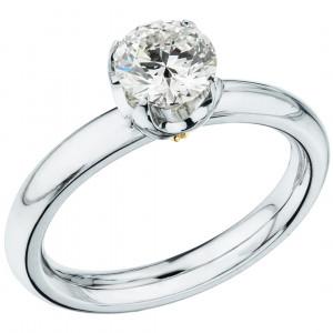 """Кольцо """"Метаморфозы"""" из белого золота с бриллиантом"""