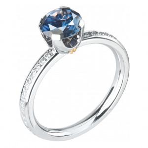 """Кольцо """"Метаморфозы"""" из белого золота с синей шпинелью и бриллиантами"""
