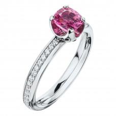 """Кольцо """"Метаморфозы"""" из белого золота с розовой шпинелью и бриллиантами"""