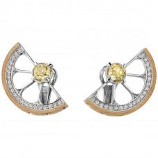 """Серьги """"Цитрус"""" из белого и желтого золота с бриллиантами и сапфирами"""