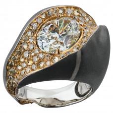 """Кольцо """"Камни"""" из белого и желтого золота с бриллиантами"""