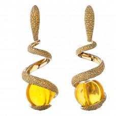 """Серьги """"Цитрус"""" из желтого золота с янтарем"""