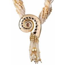 """Колье-трансформер """"Наутилус"""" из золота с жемчугом, бериллом и бриллиантами"""