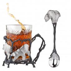 Подстаканник и чайная ложка с медведями из серебра