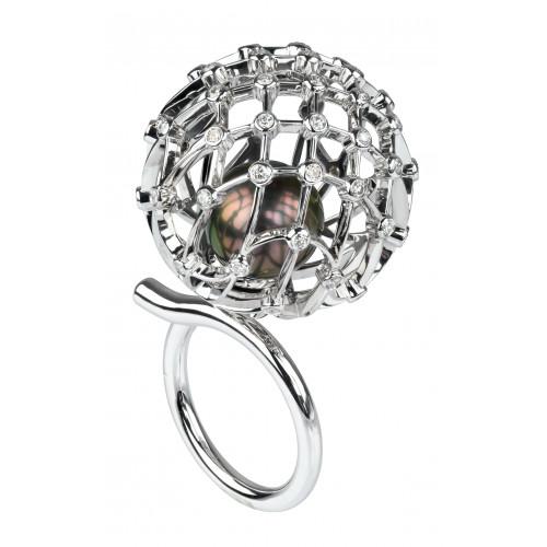 """Кольцо """"Одуванчик"""" из белого золота с черной жемчужиной и бриллиантами"""