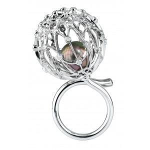 """Кольцо """"Одуванчик"""" из золота с черным жемчугом и бриллиантами"""