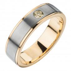 Кольцо из золота и титана с бриллиантом