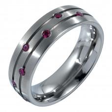 Кольцо из титана с рубинами