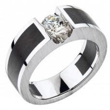 Кольцо из белого золота и эбенового дерева с бриллиантом